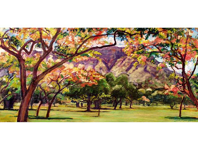 Diamond Head From The Colony Surf by Arthur Johnsen (1952-2015)