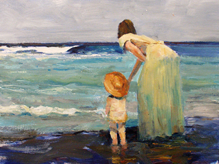 Mother and Child at the Beach by Fred  Salmon