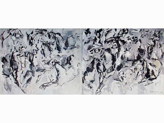 Stomping Horses Diptych  by John Young (1909-1997)