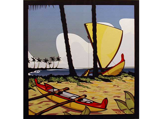 Kikaua Point  (Two Canoes on Beach) by Michael F. Field