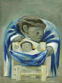 Mother & Child- Mexican- Blue & White by Jean Charlot (1898-1979)