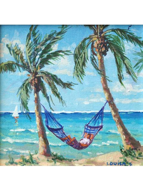 beachside hammock by louisa s  cooper cedar street galleries   artwork id  10054   louisa s  cooper      rh   cedarstreetgalleries