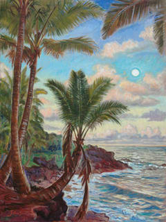 Moon Rise in Puna by Arthur Johnsen (1952-2015)