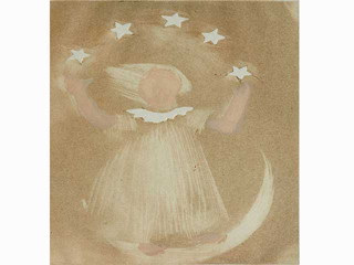 Girl Standing on Moon with Stars by Juliette May Fraser (1883-1983)