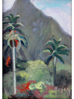 Palms & Mountain Study by Lynne Boyer