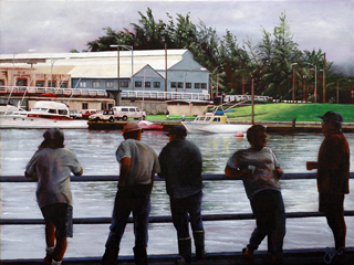 Waiting To Get Paid- The Old Hilo Fish Auction by Sandra Blazel