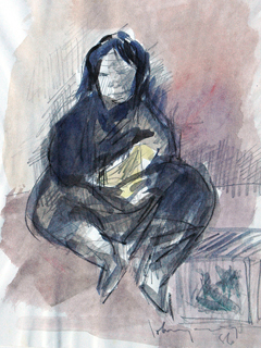 Untitled:  Seated Woman With Boxes by John Young (1909-1997)