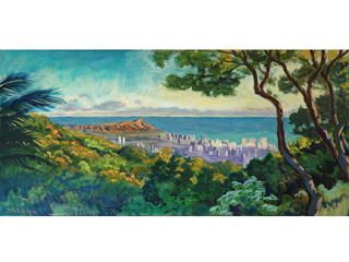 View of Diamond Head from Roundtop, Oahu by Arthur Johnsen (1952-2015)