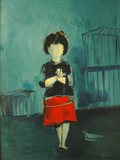 Girl with Bird and Cages by John Young (1909-1997)