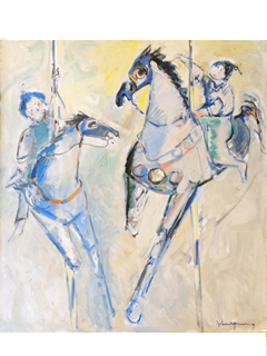 2 Carousel Horses with Riders by John Young (1909-1997)
